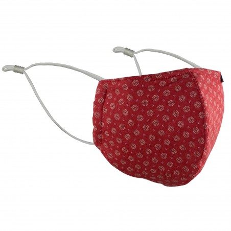 Cherry red fabric face mask with filter