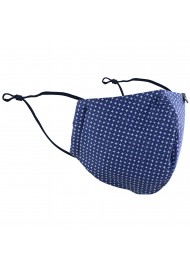 designer fabric face masks by BYOM in navy with star print