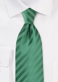 XL Length Striped Tie in Pine Green