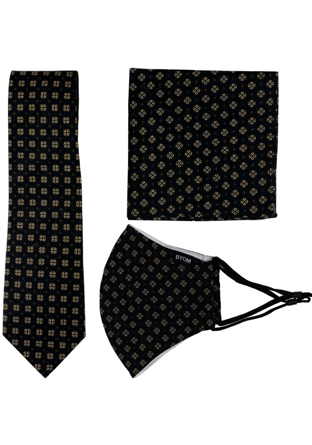 face mask necktie set in black and gold
