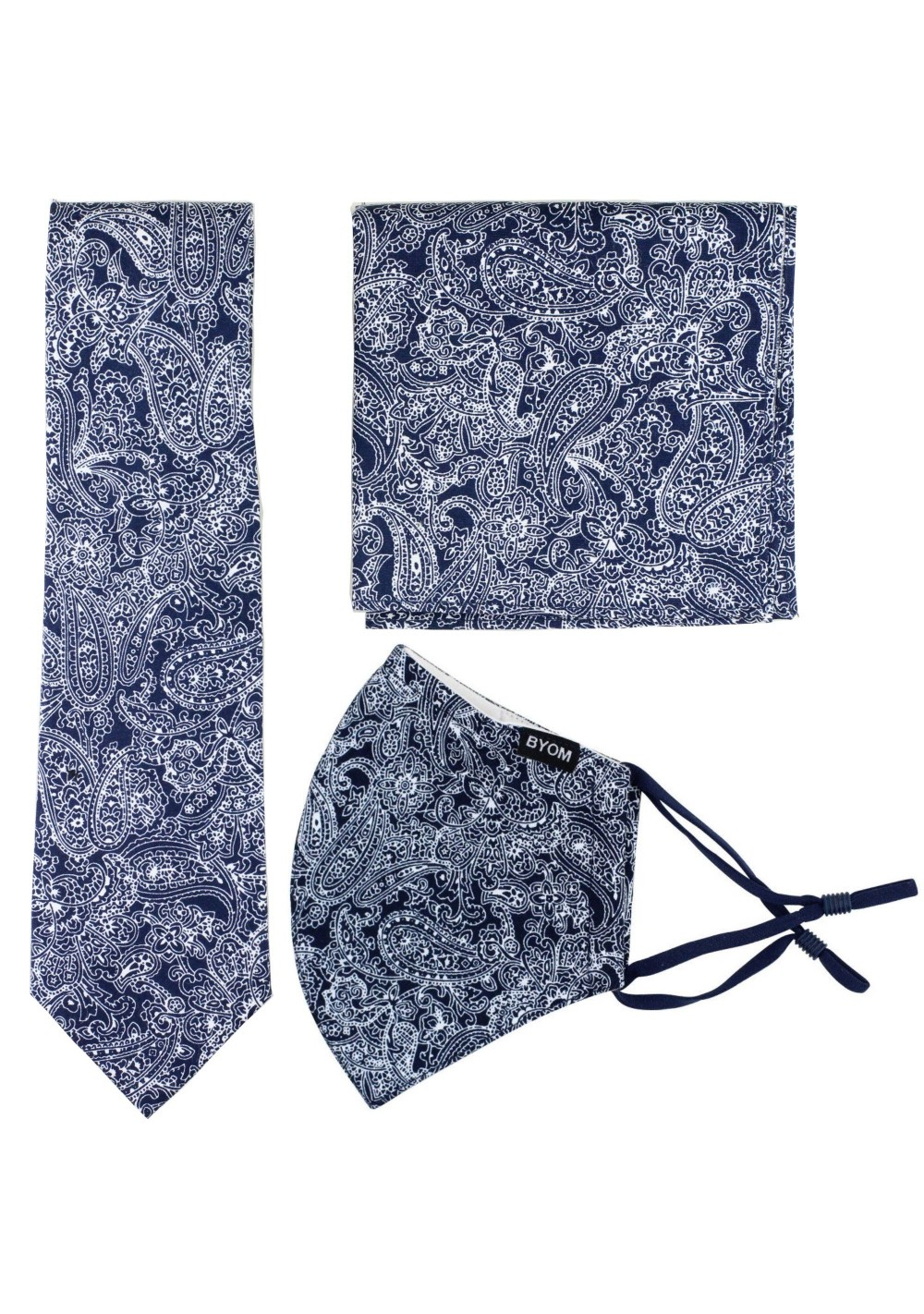 Skinny Tie and Face Mask in Navy with Bandana Print
