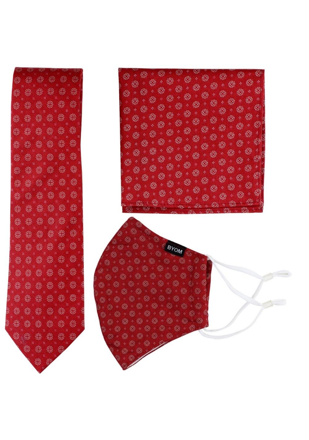 Vintage Design Necktie + Face Mask Set in Cherry Red