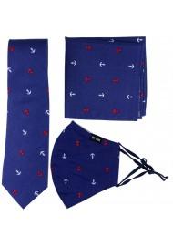 Skinny Anchor Print Tie + Mask in Navy