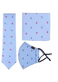Skinny Cotton Tie + Mask with Anchor Prints