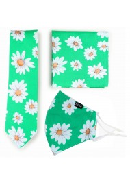 Spring Green Daisy Print Tie + Mask Set