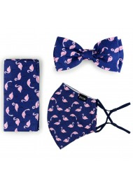 Flamingo Print Bow Tie + Face Mask Set