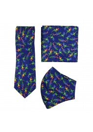 gecko print face mask and necktie set