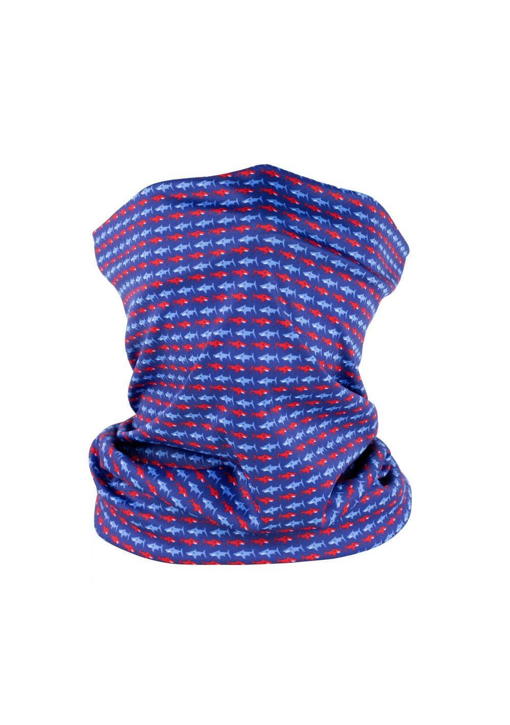 neck gaiter with swimming sharks