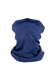 micro dot print neck gaiter in navy blue