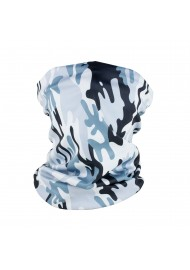 designer urban camo print neck gaiter in gray silver black