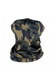 camo print nack gaiter in olive green and brown