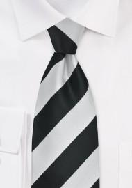 Elegnat Black and Silver Striped Mens Necktie