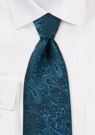 Dark Teal Paisley Silk Tie