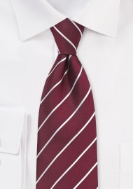 Striped Tie in Classic Burgundy