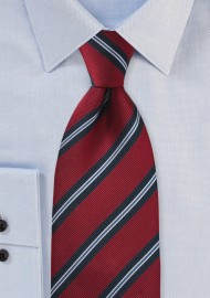 XL Length Regimental Tie in Red and Navy Blue