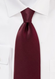 Rich Wine Colored Tie with Ribbed Texture