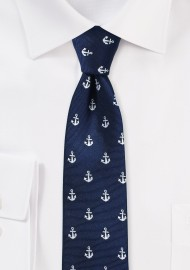 Nautical Theme Skinny Tie in Navy