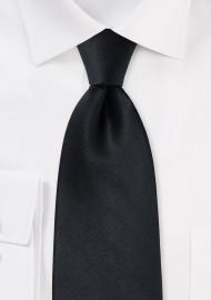 Solid Black Silk Necktie