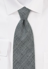 Wool Glen Check Tie in Black and White