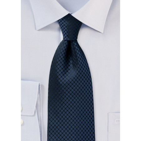 Midnight Blue Checked Necktie