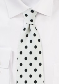 White Designer Tie with Navy Polka Dots