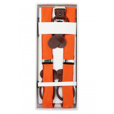 Persimmon Orange Fabric Suspenders in Box