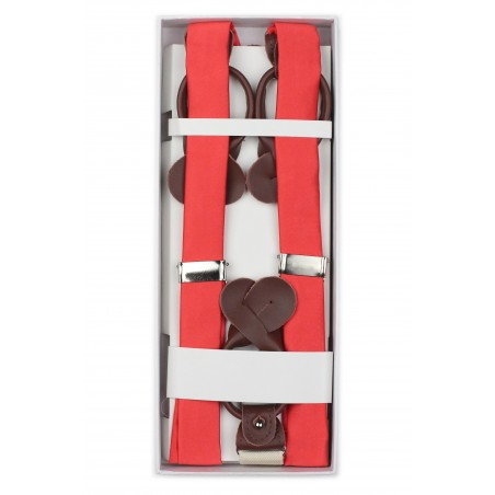 Neon Coral Mens Suspenders in Box