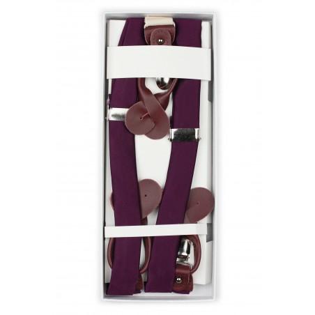 Plum Purple Mens Suspenders in Box