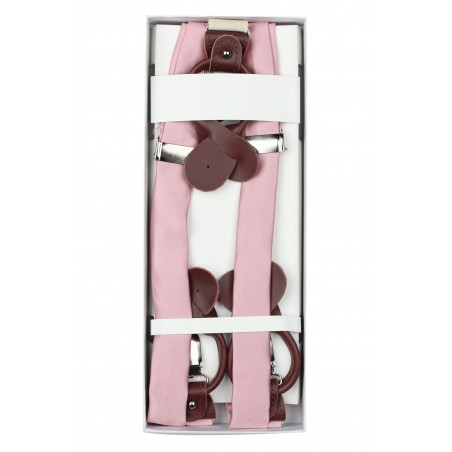 Soft Pink Wedding Suspenders in Box