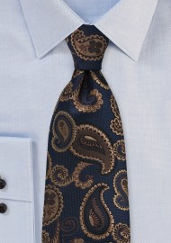 Paisley Tie in Navy and Browns
