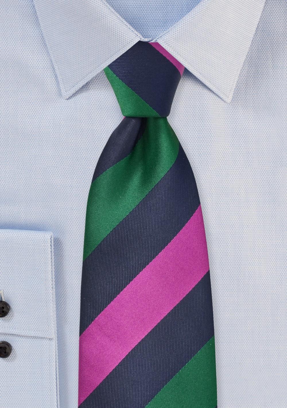 Striped Tie in Navy, Hunter Green, Fuchsia