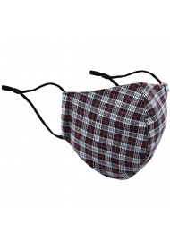 Fall Tartan Check Mask in Black, Silver, Red