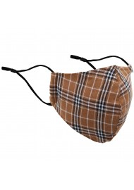 Autumn Check Mask in Brown and Burnt Orange