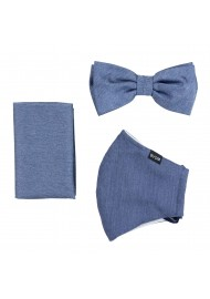 Solid Denim Blue Mask and Bowtie Set