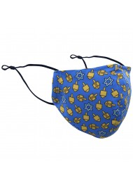 Dreidel Print Face Mask in Blue and Gold