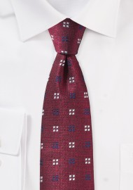 Slim Textured Autumn Tie in Dark Red