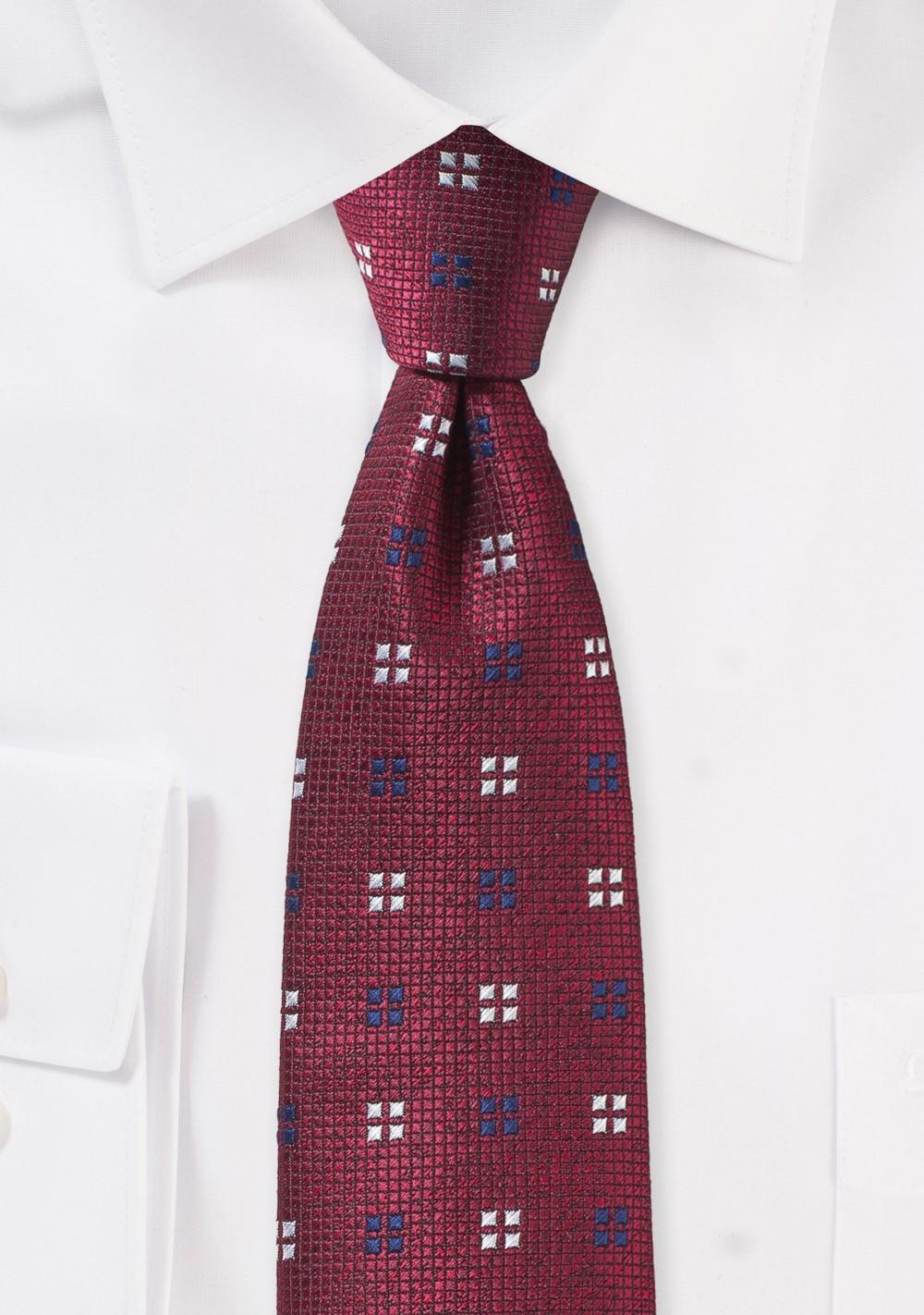 Slim Textured Autumn Tie in Dark Red
