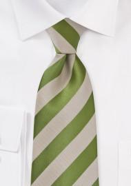 Kids Fern Green and Tan Striped Tie
