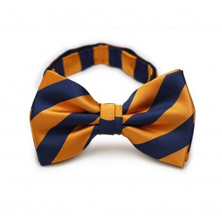 Orange and Navy Striped Bow Tie