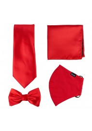 Bright Red 4-piece Mask and Tie Set