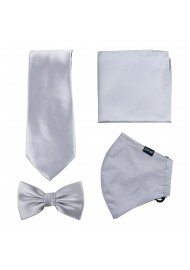 Silver Gray Mask and Tie Set