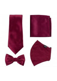 Burgundy Red Mask and Tie Set