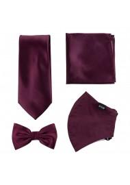 Plum Purple Mask and Tie Set