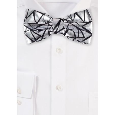Designer Bow Tie in Black and Metallic Silver