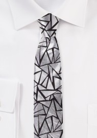 Geo Print Skinny Tie in Black and Metallic Silver