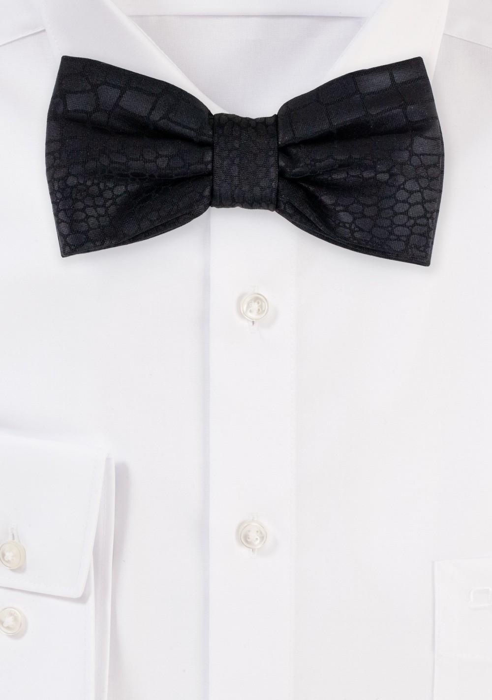 Croc Print Bow Tie in Black