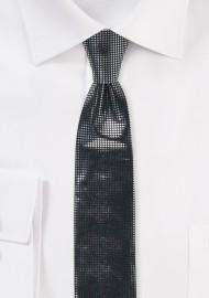 Black Skinny Tie with Metallic Dots