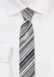 Metallic Striped Tie in Rosegold and Platinum