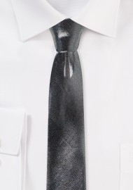 Metallic Skinny Tie in Shiny Silver