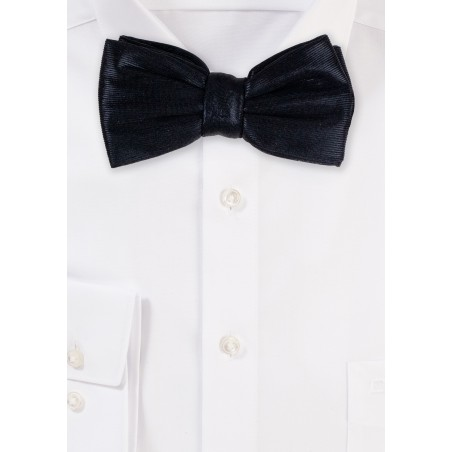 Shiny Faux Leather Bowtie in Black